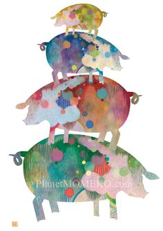 One Pig Family --8.5 x 11 Fine Art giclee print -Cute and Fun Family with beautiful happy colors