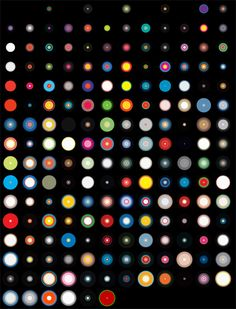 A visualization of every palette used in 15 years of Wired Magazine cover art. This is every magazine issue before June 2008 in chronological order, with each circle displaying the main colors of the cover it represents.
