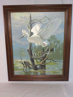 Vtg Mid Century Paint By Number PBN Egret Heron Craft Master Bird Framed #Realism