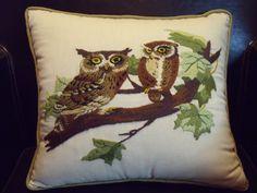 """Vintage Avon """"Owl Mates"""" Crewel Embroidery Owl Pillow. $20.00, via Etsy."""