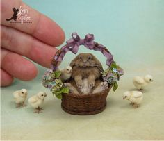 Dollhouse Miniature chubby French Lop Rabbit with chicks. All are freehand sculptures of polymer clay, wire & soft, natural fibers.