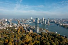 The remarkable view of Rotterdam from the top of the Euromast. Visiting this tower is a fun thing to do in Rotterdam.
