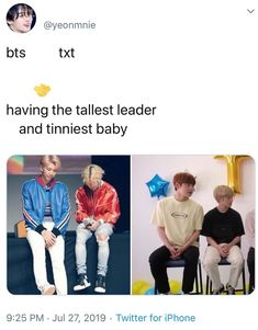 Bts txt having the tellest leader and tinniest baby - iFunny :) Bts Memes Hilarious, Bts Funny Videos, K Pop, All Meme, Bts Tweet, Bts Playlist, Bts Aesthetic Pictures, Bts Photo, Bts Boys