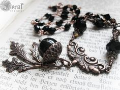Victorian Woodland Black Acorn & Copper Rosary by feralstrumpet, £72.00