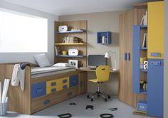 Armoire d'angle et lit tiroir avec étagères plus bureau