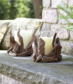 Driftwood Candleholder. Perfect for rustic decor setting, indoor or outdoor.