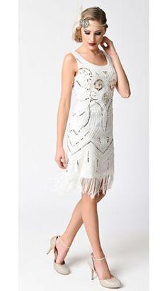 af2693754a42 Vintage Style Off White & Gold Sequin Sleeveless Fringe Flapper 1920s  Flapper, Flapper Style,