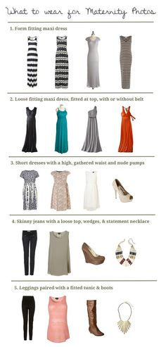 Pick the perfect outfit for your maternity photos using this helpful graphic. #maternity #photo #shoot #tips
