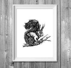 Illustrationen - Digitaldruck A4: November Squirrel - ein Designerstück von pixelgraphix bei DaWanda