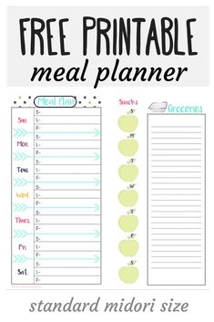 Check out this free printable meal planner. The perfect size for your traveler's notebook or midori, or just throw it in your purse! Keep track of your meals, snacks, and even your grocery list! A complete 8 week booklet for meal planning!