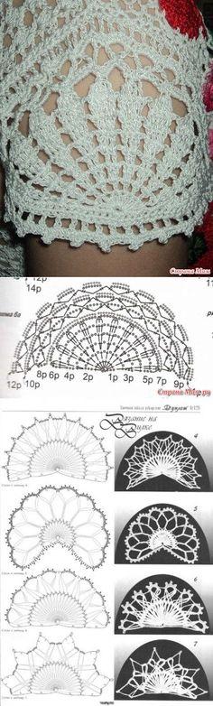 50 New Ideas crochet shrug pattern ganchillo Crochet Edging Patterns, Crochet Lace Edging, Crochet Motifs, Crochet Diagram, Crochet Stitches, Knitting Patterns, Dress Patterns, Col Crochet, Crochet Shirt