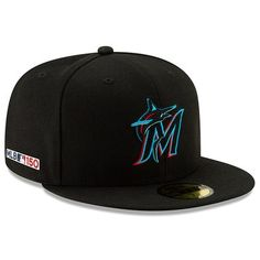 6a016775f25b8 Men s New Era Black Miami Marlins MLB 150th Anniversary Authentic  Collection 59FIFTY Fitted Hat
