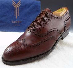 New - YANKO sz 8 LEATHER WINGTIP OXFORDS MENS BROWN fits US 8 $429