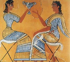 """Knossos Dress in art. The picture illustrate the drape effect and pattern details of the dress. Detail of """"Campstool"""" Fresco Knossos Palace Third Palace period LM ll /lll A Greek History, Ancient History, Art History, Ancient Greek Art, Ancient Greece, Knossos Palace, Fresco, Minoan Art, Bronze Age Civilization"""