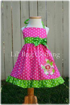 Strawberry Shortcake Jumper Dress Halter Style Hot Pink Lime Birthday | Lilbugclothing - Clothing on ArtFire