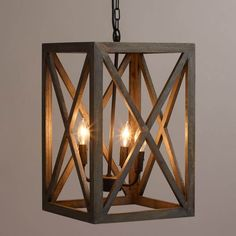 entry way lighting - Crafted of gray-washed mango wood, our exclusive chandelier adds a dramatic architectural element to the dining or living room. The black iron chandelier houses four candelabra bulbs, sending light through the open frame. Foyer Lighting, Kitchen Lighting Fixtures, Lighting Design, Pendant Lighting, Wood Pendant Light, Foyer Light Fixtures, Lighting Ideas, Stairway Lighting, Dramatic Lighting