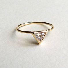 Triangle Diamond Ring  Diamond Engagement Ring  18k by artemer, $720.00