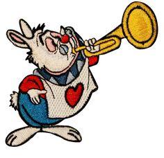 Walt Disney Alice in Wonderland Rabbit Horn Embroidered Iron On Applique Patch