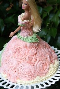 barbie cake with rose patterned dress