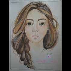 Original 9x12 watercolor ink lady portrait brunette beautiful braid freeshipping