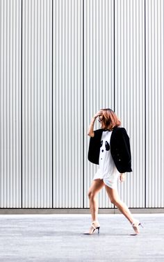 Silk and Suits, Mariko Kuo - MinkPink Panda Surprise dress, The Kooples blazer, Dune Clemence heels, Gouverneur Audigier sunglasses available at Grey Book The Kooples, Minkpink, Dune, Panda, Blazer, Silk, Sunglasses, Grey, Heels