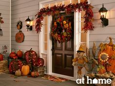 Hello Harvest! Welcome friends and family to your home with warm and inviting autumn décor on your porch.