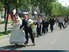 HA! I wonder if my sis would go for that at her wedding in Aug except instead of roller blading have the guests stomp grapes!!! They are getting married at a winery!!!!!!