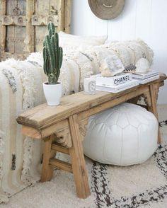 White Moroccan Pouf Ottoman - Boho Decor - Leather Pouf- Bohemian Home Decor- Cheap Home Decor, Diy Home Decor, White Home Decor, Decor Crafts, Morrocan Decor, Moroccan Bathroom, Moroccan Lanterns, Living Room Decor, Bedroom Decor