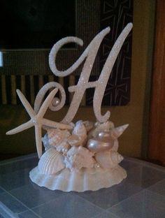 Monogram Cake Topper With Seashells Beach Wedding Starfish Custom Destination Wedding Resort Wedding Any Letter A to Z