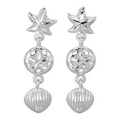 Silver Rhodium Plated Shiny Textured Sand Dollar & Star Fish & Sea... (2.200 RUB) ❤ liked on Polyvore featuring jewelry, earrings, star fish earrings, shell earrings, shell jewelry, silver starfish earrings and polish jewelry