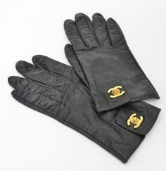 Chanel Black Leather Gloves Women Gold
