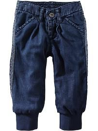Jersey-Lined Tuxedo-Stripe Jeans for Baby