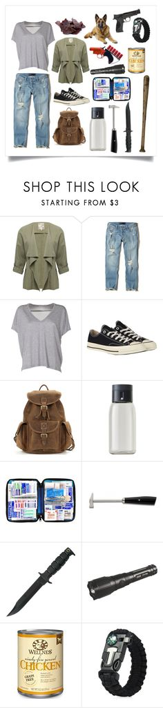 """""""I would not survive the zombie apocalypse."""" by devrene ❤ liked on Polyvore featuring M&Co, Hollister Co., Acne Studios, Converse, Joseph Joseph, Coltellerie Berti and Smith & Wesson"""