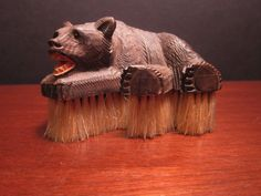 Antique Black Forest Hand Carved Wood Bear Hat Clothes or Crumb Brush Rare Hand Carved, Carved Wood, Black Forest, Retro Vintage, Lion Sculpture, Carving, Bear, Fantasy, Statue