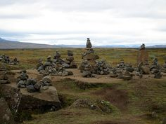 Stacked rocks, an art form you will see often in Iceland
