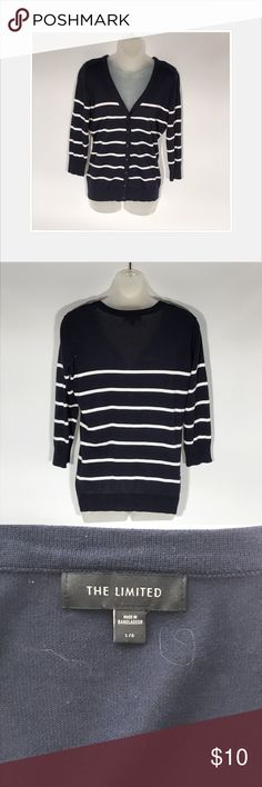Limited cardigan Limited blue and white button up cardigan.  Sleeves are 3/4 sleeves.  Good condition. The Limited Tops