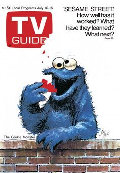 TV Guide July 10, 1971 - The Cookie Monster from Sesame Street. Illustration by Jack Davis.