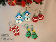 3 Earrings special Christmas hama beads + 1 free!/ 3 Christmas earrings + 1 free! Perler Beads, Perler Earrings, Fuse Beads, Christmas Jewelry, Christmas Crafts, Christmas Ornaments, Christmas Earrings, Bead Crafts, Jewelry Crafts