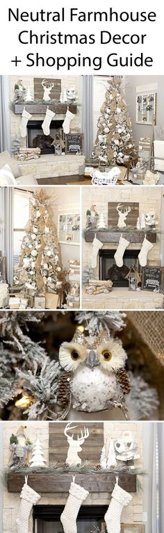 Neutral Farmhouse Christmas Decor Ideas and shopping guide