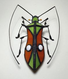 Colorful Stained Glass Bug Sculpture by KippaxDecorativeArt