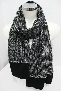 Male black white scarf, Black white hairy, Black and white scarf, Black and white, Men gifts, Scarves woven fabrics, White scarf Men black