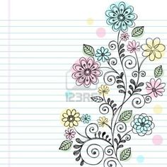 Hand-Drawn Flowers, Leaves, and Swirls Sketchy Notebook Doodles Illustration on Lined Sketchbook Paper Background Stock Photo