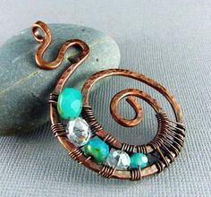 Copper Wire Jewelry | Wire Wrapped Pendant Handmade Art Jewelry Wire Wrapped Jewelry Copper ...