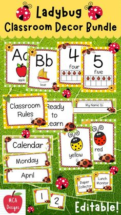 Check out my Ladybug Editable Classroom Décor Bundle! This features all you need to create a fresh new look for your classroom this fall! Check out the preview for a quick look at this colorful theme. My Ladybug Classroom Décor Bundle features my ENTIRE Ladybug collection including several editable features! #teacherspayteachers #tpt #classroommanagement #backtoschool School Resources, Teacher Resources, Classroom Resources, Teaching Ideas, 4th Grade Classroom, Classroom Rules, Sight Word Wall, Word Wall Headers, Behavior Clip Charts