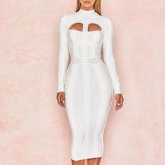 Adyce 2018 New Summer Women Bodycon Bandage Dress White Long Sleeve Hollow  Out Club Dress Vestidos Celebrity Evening Party Dress 50126a39a212e