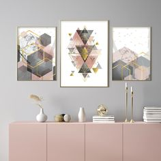 Get the latest look for your living room  with this brand new set of three blush pink, grey and gold printable art. Stunning! 😍 Blush And Grey Living Room, Cute Living Room, Living Room Photos, Living Room Art, Blush Pink Bedroom, Pink Room, Rose Bedroom, Grey And Gold, Pink Grey