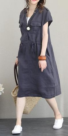 Fabric: Fabric has no stretchSeason: SummerType: Dress Sleeve Length: Short sleeveColor: Gray,Coffee Material: Cotton and LinenDresses Length: Knee lengthStyle: Casual Neck Type: V Neck Silhouette: Loose Size: cm,Shoulder cm cm,Shoulder cm Linen Dresses, Women's Dresses, Vintage Dresses, Casual Dresses, Fashion Dresses, Casual Clothes, Summer Clothes, Casual Outfits, Denim Shirt Dress