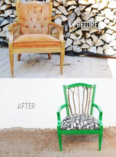 DIY trash to treasure statement chair (That back doesn't look very comfy - but otherwise this is a MAJOR improvement. Is it actually the same chair? The curvature at the top of the back looks different, too. Diy Furniture Chair, Upcycled Furniture, Painted Furniture, Refinished Furniture, Urban Furniture, Chair Makeover, Furniture Makeover, Chair Redo, Chaise Diy