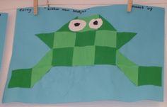 * Kikker van 4-kantjes kant en klaar of ze laten vouwen en knippen! Insect Crafts, Wonder Boys, Mosaic Crafts, Too Cool For School, Primary School, Pond, Preschool, Arts And Crafts, Classroom