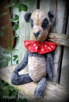 "Primitive Folk Art ""Vintage"" Panda Doll-Teddy Bear-Old, Grungy, Plush Felt, Hafair Team, Faap by MeadowForkPrims on Etsy"